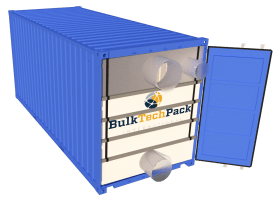 Door end loading container bulk liner